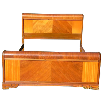 Vintage Walnut Art Deco Full Double Waterfall Bed