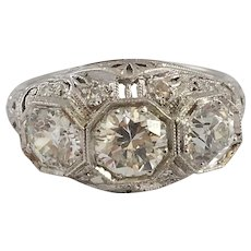 Fabulous Three Stone Art Deco Filigree Ring