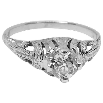Sweet and Elegant Art Deco Diamond Engagement Ring