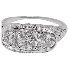 Fabulous Art Deco Platinum FiligreeThree Stone ring with 1.85 carats total weight