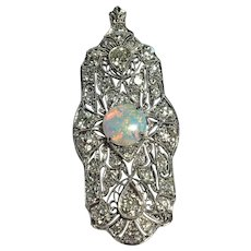 Art Deco Platinum Diamond and Opal Large Lavalier Pin/Pendant