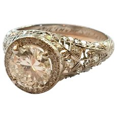 Spectacular GIA Certified Edwardian Platinum Diamond Engagement Ring