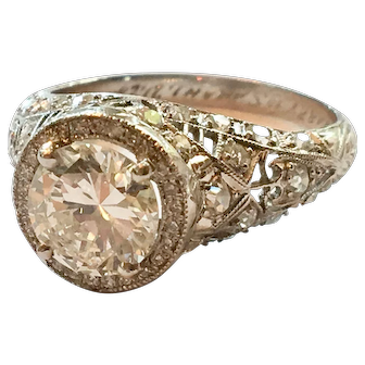 Spectacular GIA Certified Edwardian Platinum Diamond Engagement Ring
