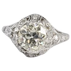 Extremely Gorgeous Art Deco Platinum Filigree Ring with 1.50 carat center diamond