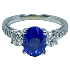 Amazing No Heat Ceylon Sapphire and Diamond Ring