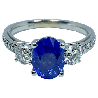 Amazing No Heat Ceylon Sapphire and Diamond Ring