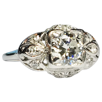 Art Deco Engagement Ring with .87 carat center stone