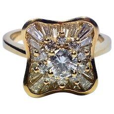 Striking Modern Diamond Engagement Ring in 18K Yellow Gold
