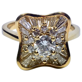 Striking Modern Diamond Engagement Ring in 18K Yellow Gold