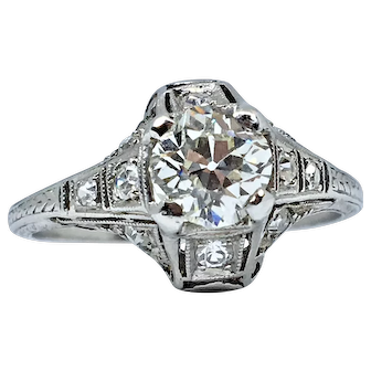 One of a kind Art Deco Platinum Diamond Engagement Ring