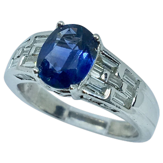 Striking Contemporary Sapphire and Diamond Engagement Ring