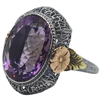 Gorgeous Retro Amethyst Tri-Color Filigree Ring