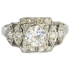 Art Deco Diamond Engagement Ring with .81 carats total weight (.53 ct center diamond)