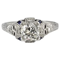 Art Deco Platinum Filigree Diamond Engagement Ring