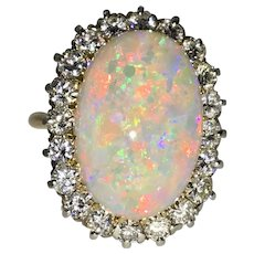 Amazing Large Super Opal and Diamond Ring in 18kt