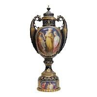 19th Century Large Royal Vienna Style Porcelain Urn with Vestal Virgins