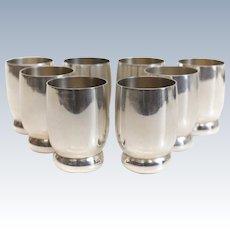 8pc Allan Adler Sterling Silver Mid Century Modernist Shot Glasses
