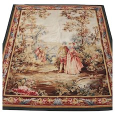Antique Aubusson Tapestry, circa 1900. Pictoral Courting Scene
