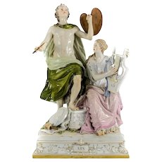 Large Porcelain Meissen Figural Group Artist and Lyre Player, 19th Century ARS