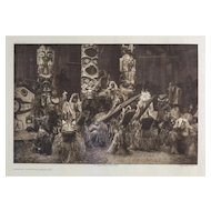 Edward S Curtis American 1868-1952 Photogravure Masked Dancers Qagyuhl