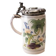 Silver Mounted German Faience Tankard, with Silver Danish Krone Prince of Wales