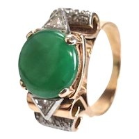 14k Rose Gold Imperial Jade Jadeite Ring, size 7, 12.5mm bright green cabochon