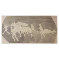 John Edward Borein (American 1872 - 1945) Drawing w/ ink wash, signed Bullfight