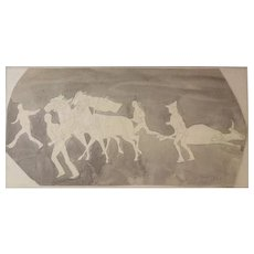 John Edward Borein (American 1872 - 1945) Drawing w/ ink wash, signed Bullfight