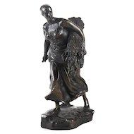 Aime Jules Dalou 1838-1902 Patinated Bronze Statuette En Moisson The Harvest