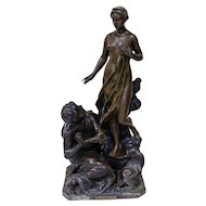 Henri Godet French 1863-1937 bronze sculpture Antiquity Figures Pygmalion