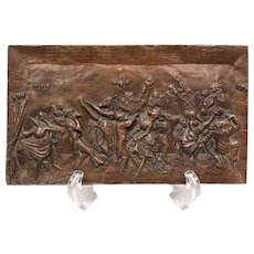 Paris S. Chats Signed Bronze Bas Relief Plaque, Anthropomorphic Dancing Animals