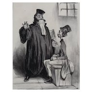 Honore Daumier France 1808 -1879 Lithograph Robert Macaire Avocal No 9
