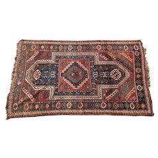 Antique Kazak Wool Rug, 19th Century. Maroon & Blue Geometric Pattern