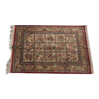 Silk Qum Rug, circa 1950. Chinoiserie Floral and Animal Design, Signed