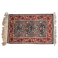 Hereke Silk Pile and Foundation Rug, circa 1920. Signed. Floral Borders