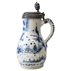 17th - 18th Century Pewter mounted German Faience Tankard, Blue and White