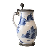 Pewter mounted German Faience Tankard 1750s Blue and White Painted Chinoisorie