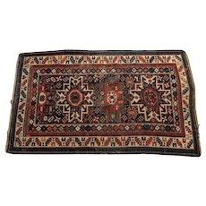 Antique Caucasian Wool Rug, 19th Century. Stylized Geometric Design