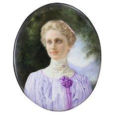 KPM Hand Painted Portrait Mary Baker Eddie on Porcelain Plaque Framed, c1900