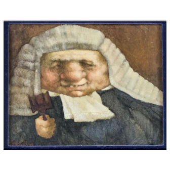 """Charles Bragg, oil painting on board """"The Judge"""", humorous powdered wig w/ gavel"""