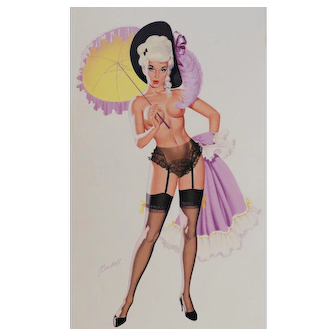 Bill Randall (American 1911 -) Signed Gouache painting Pinup Cheesecake Nude