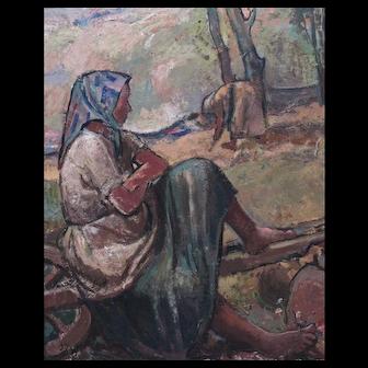 Adelina Zandrino Italian 1893 -1994 Oil on panel La Terra Impressionist Impasto