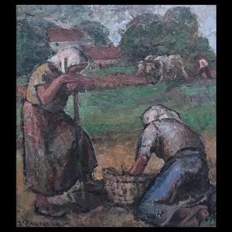 Adelina Zandrino Italian 1893 -1994 Oil on panel La Fatica Impressionist Impasto