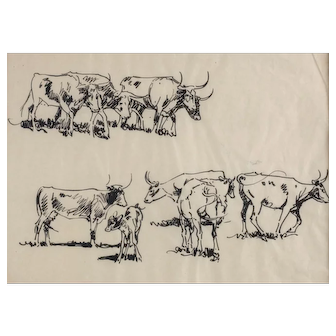 John Edward Borein American 1872 - 1945 Ink on paper, Long Horn Cattle