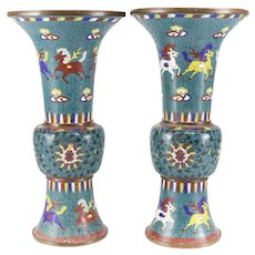 Pair of Large Chinese Cloisonne Enamel on Copper Vases 18th Century, Makers Mark