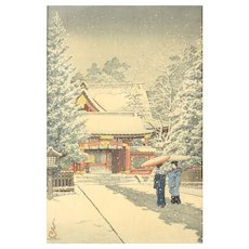 Kawase Hasui (Japanese 1883-1957) Woodblock Print Snow at Hie Shrine, 1931