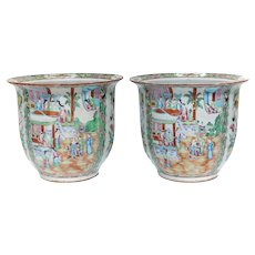 Pair Large Chinese Porcelain Rose Canton Hand Painted Jardinieres 19th Century