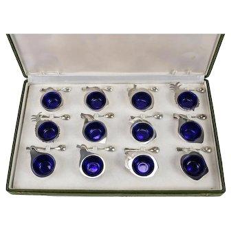 12pc 800 Silver Fabbrica Argenteria Fiorentina di Bartolini Open Salts w/ Spoons