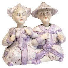 Imperial Russian M.S. Kuznetsov Bisque Porcelain Head Nodders, 19th Century