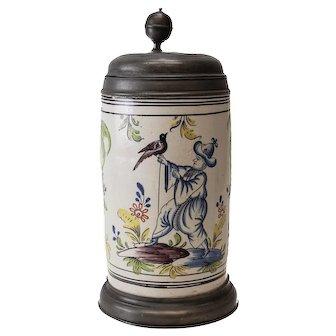 18th Century Pewter Mounted Dutch Faience Tankard, columnar form, Polychromed